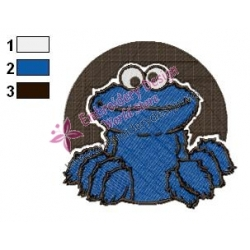 Cookie Monster Face Embroidery Design 02