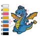 Cute Baby Blue Dragon Embroidery Design