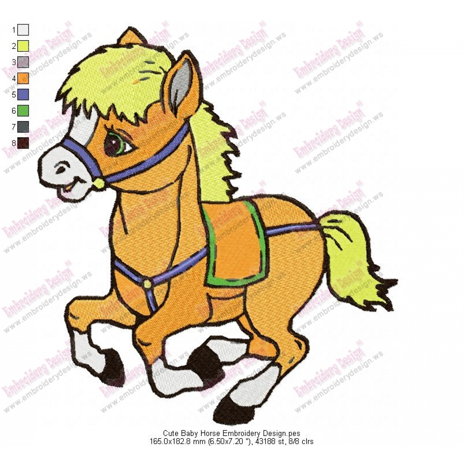 Product code cute baby horse embroidery design