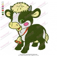 Cute Cartoon Cow Embroidery Design