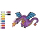 Cute Violet Dragon Embroidery Design