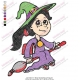 Cute Witch on Broom Embroidery Design