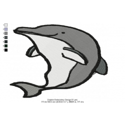 Dolphin Embroidery Design 01