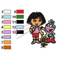 Dora The Explorer Embroidery Design 04