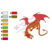 Dragon Fighter Embroidery Design