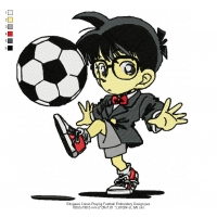 Edogawa Conan Playing Football Embroidery Design