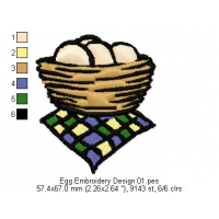Egg Embroidery Design 01