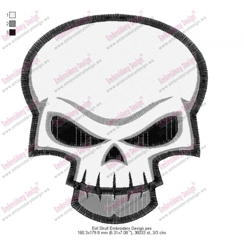 Evil Skull Embroidery Design