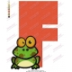 Frog F Alphabet Embroidery Design