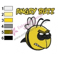 Funny Angry Buzz Embroidery Design