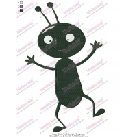 Funny Black Ant Embroidery Design