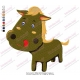 Funny Cartoon Buffalo 02 Embroidery Design