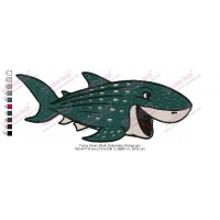 Funny Green Shark Embroidery Design