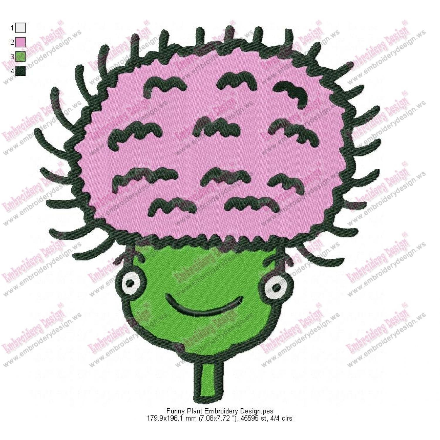 Funny plant embroidery design
