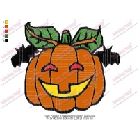 Funny Pumpkin in Halloween Embroidery Design