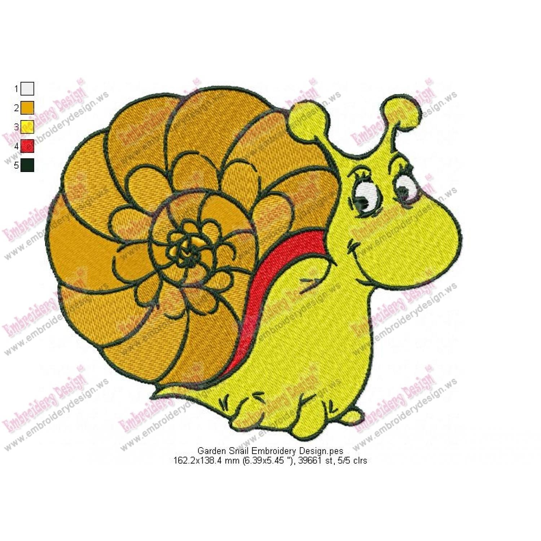 Garden Snail Embroidery Design