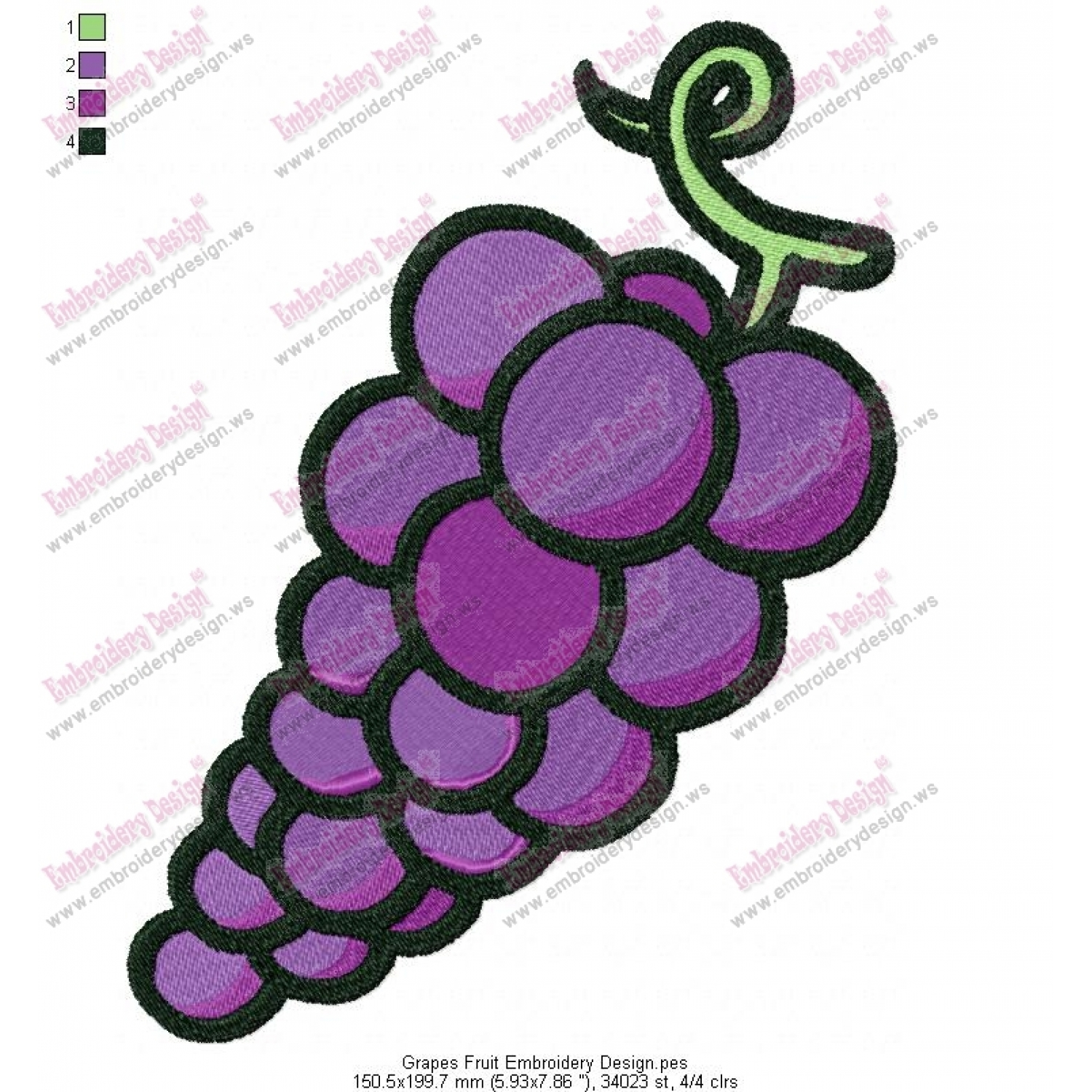 Grapes Fruit Embroidery Design