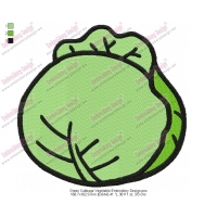 Green Cabbage Vegetable Embroidery Design