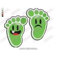 Green Cartoon Sweet Feet Embroidery Design