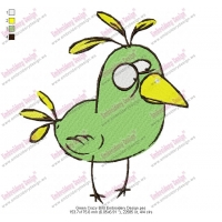 Green Crazy Bird Embroidery Design
