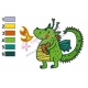Green Dragon Shooting Fire Embroidery Design