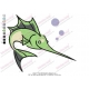 Green Shark Embroidery Design