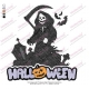 Grim Reaper with Halloween Sign Embroidery Design
