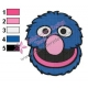 Grover Face Embroidery Design 02