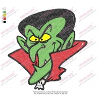 Halloween Dracula Vampire Embroidery Design