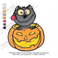 Halloween Happy Cat in a Pumpkin Embroidery Design