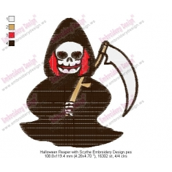 Halloween Reaper with Scythe Embroidery Design