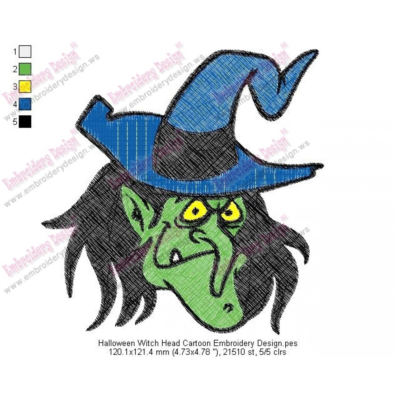 halloween witch head cartoon embroidery design