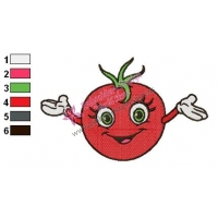 Happy Tomato Embroidery Design