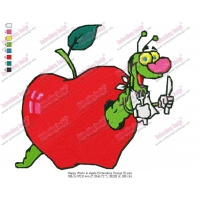 Happy Worm in Apple Embroidery Design 02