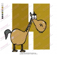 Horse H Alphabet Embroidery Design