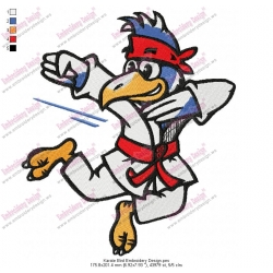 Karate Bird Embroidery Design