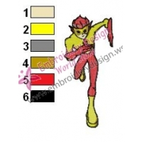 Kid Flash Teen Titans Embroidery Design 02