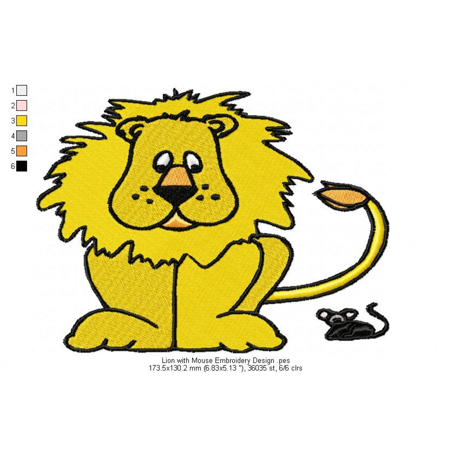 Lion With Mouse Embroidery Design