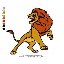 Lion King Embroidery Animal_13