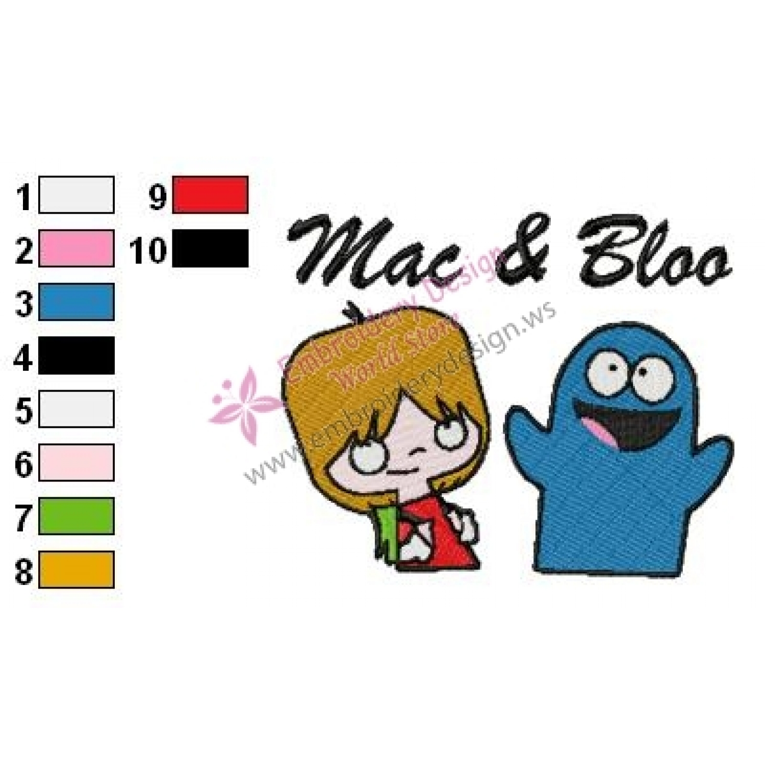 Mac and Bloo Fosters Home for Imaginary Friends Embroidery Design