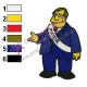 Mayor Quimby Simpsons Embroidery