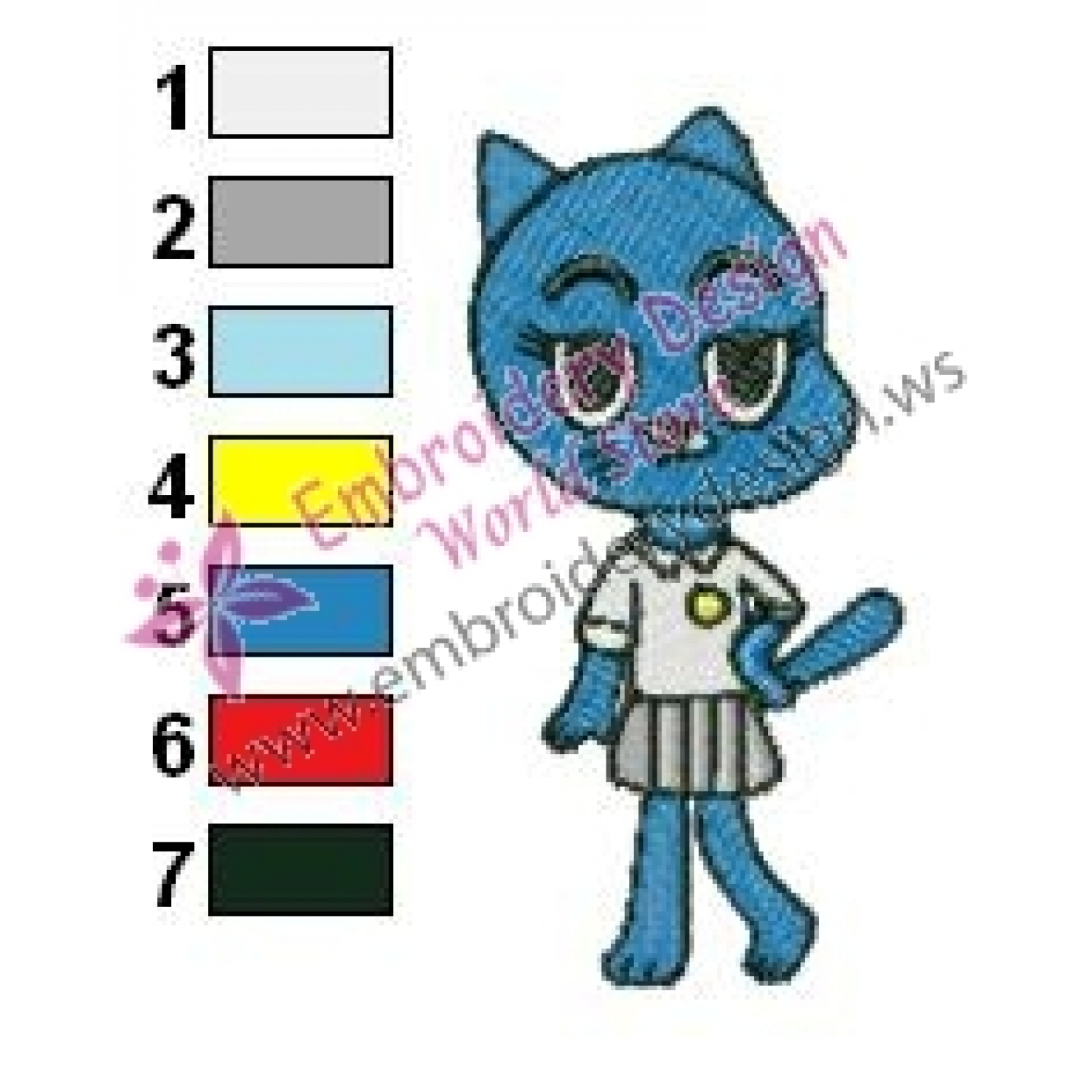 Nicole The Amazing World Of Gumball Embroidery Design 02