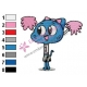 Nicole The Amazing World of Gumball Embroidery Design