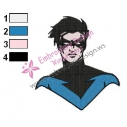 Nightwing Headshot Teen Titans Embroidery Design
