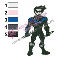 Nightwing Teen Titans Embroidery Design 02
