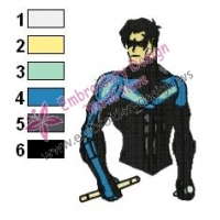 Nightwing Teen Titans Embroidery Design 03