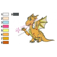 Orange Baby Dragon Embroidery Design