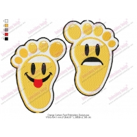 Orange Cartoon Feet Embroidery Design