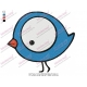 Oval Funny Cartoon Bird Embroidery Design