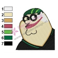 Peter Griffin Face Family Guy Embroidery Design 02